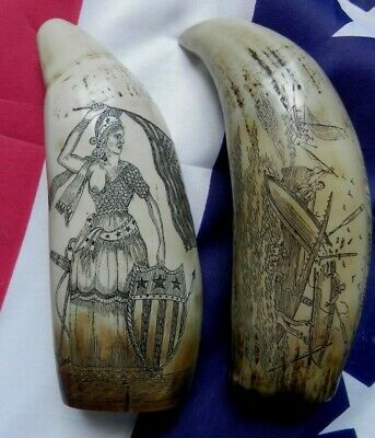 Faux Scrimshaw Freedom & Liberty Whaler Ship & Bark Veronica Museum Quality