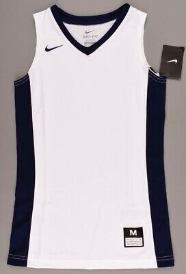 NIKE Girls' Basketball Top, Tank Top, Vest, DRI-FIT, White/Navy, size 10-12 y.