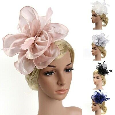 UK Feather Flower Headband Alice Band Fascinator Womens Wedding Race Royal Ascot