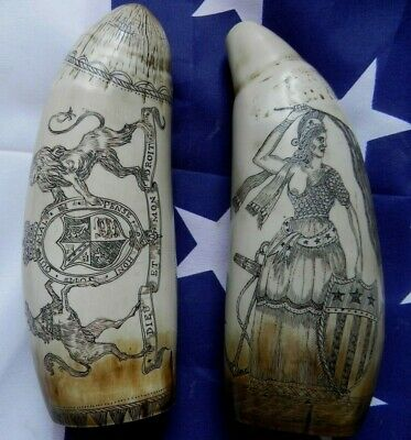 Faux Scrimshaw Freedom & Liberty Whaler Ship + The Brandenberg & Coat of Arms