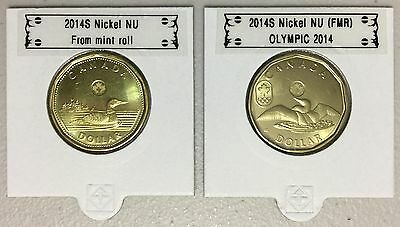 CANADA 2014 New Complete set 2 x Loonie (BU directly from mint roll)