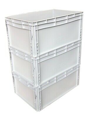 3 x 56 Litre Heavy Duty Plastic Stacking Euro Storage Containers Boxes Crates!!!