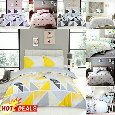 Abstract Geometric Triangle Print Duvet Cover Quilt Bedding Set With Pillowcase