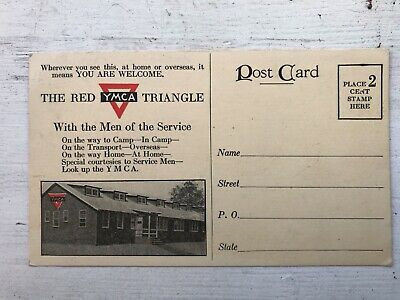 Vintage WWII Red Triangle YMCA Postcard - Message from a Soldier in Hospital