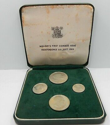 """1964, Malawi 4 Coin Proof Set w/ Box, """"Malawi's First Coinage Issue"""" !!"""