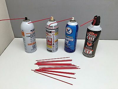 """20 7"""" Replacement Aerosol Spray Can Red Straws Tubes Oil Cleaner Auto LPS WD40"""