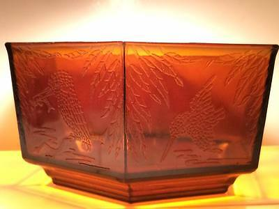 1930's Sherdley Art Deco Amber Glass Hexaganal Kingfisher Bowl