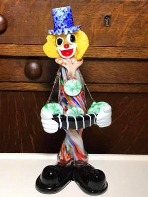 Murano Art Glass Clown Accordion Player