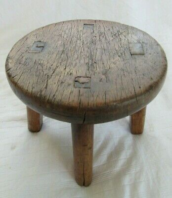 Little Antique Mortise Tenon Stool Stand Milking Country Primitive Wood Display