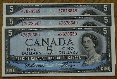 Rare Sequence of 3 1954 Uncirculated $5 Canadian Bank Notes Beattie/Coyne 48-50