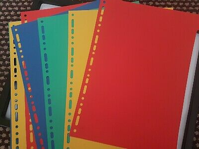 9x Card Colours Folder Dividers A4 Size Stationary Childrens