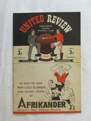 Football Programme Man Utd v Arsenal 1946/47