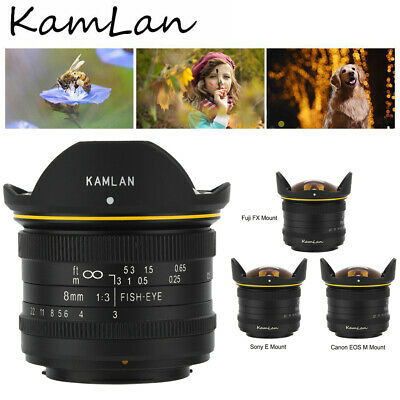 KamLan 8MM F3.0 APS-C Manual Wide Angle Fisheye Lens for Fuji/Sony/Canon Camera