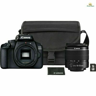 Canon EOS 4000D DSLR Camera EF-S18-55MM Lens + Carry Bag and 16GB Card Bundle