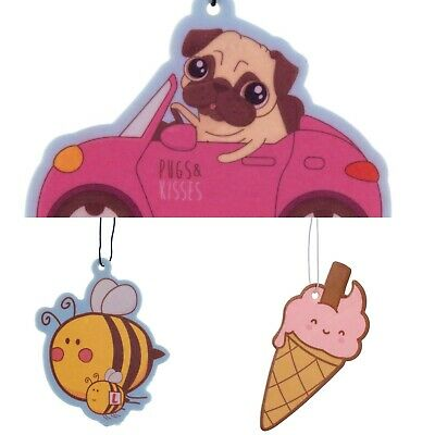 Scented Car Air Freshener - Pack Of 3 - Pugs, Bees & Ice Cream Themes
