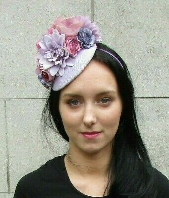 Lilac Lavender Mauve Light Purple Flower Feather Floral Hat Hair Fascinator 7279