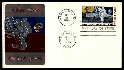 Mayfairstamps US FDC 1969 Moon Landing Metal Sarzin First Day Cover wwb05405