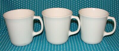 3 Vtg Corelle Corning Winter Frost White Coffee Cups Mugs D Handle Flaired