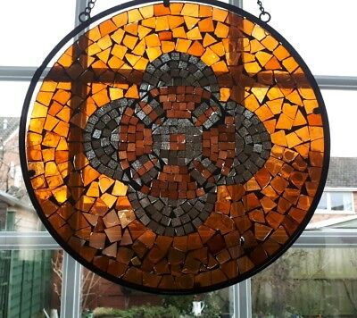 Amber coloured mosiac hanging glass wall panel 30cm diameter (A8)