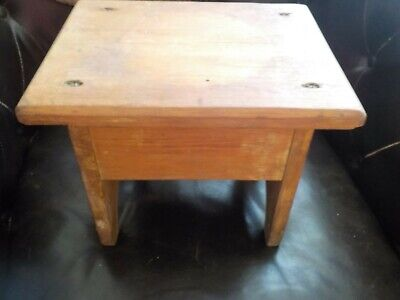 Antique Vintage Primitive Farm Milking Handmade Wooden Foot Stool