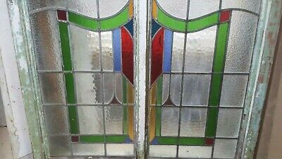 2 x Victorian/Edwardian stained glass antique vintage windows
