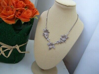 """Gorgeous Genuine Vintage Solid Sterling Silver Marcasite Pendant Necklace 16"""""""