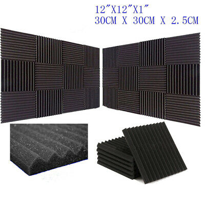 24 Acoustic Music Room Wall Panels Sound Proofing Foam/Pad Studio 12x12 Black