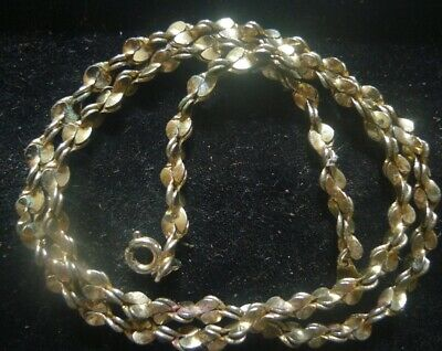 Vintage Estate Necklace Modernist Unusual Link Chain Leaf golden-  2 post free