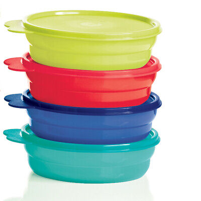 Tupperware Microwave Reheatable Cereal Bowls w/Seals in Beautiful Colors - NEW!