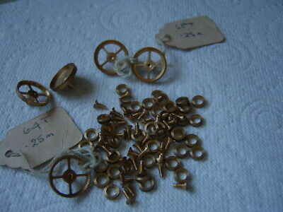 Antique Clock Wheels,  Brass Screws And Washers  New. Job Lot