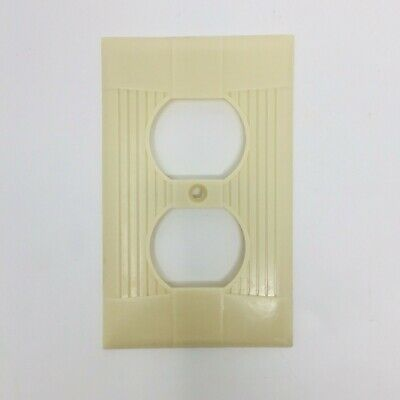Vintage Light Outlet Plate Cover - Eagle US Art Deco Ribbed Lines Ivory Bakelite