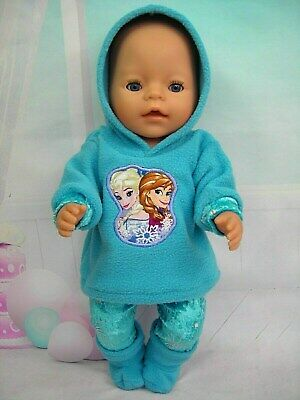 """Dolls clothes for 17"""" Baby Born doll~AQUA FROZEN SISTERS HOODIE/LEGGINGS/BOOTS"""