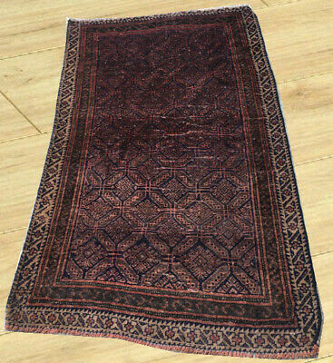 Semi Antique Hand Knotted Afghan Tribal Balouch Wool Area Rug 3 x 5 Ft