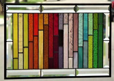 """• 38 COLORS  • 21 1/2"""" x 13 1/2"""" Stained Glass Panel wiyh Bevels"""