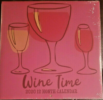 """Wine Time 2020 Wall Calendar 12 Month NEW SEALED 11"""" X 11"""" w"""