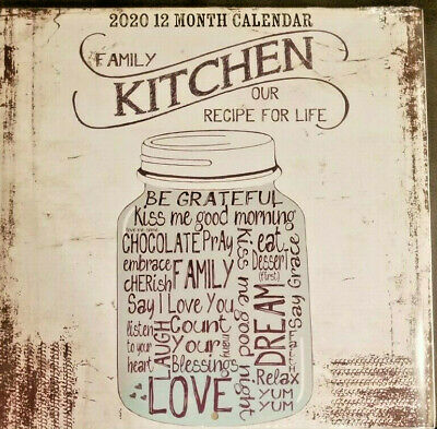 """Family Kitchen Recipe For Life 2020 Wall Calendar 12 Month 11"""" X 11"""" w"""