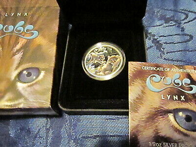 2016 - 1/2 oz SILVER AUSTRALIA PERTH MINT LYNX CUB COLORED PROOF COIN