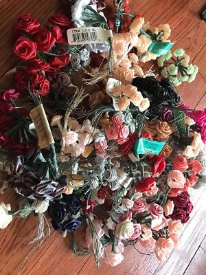 Lot Of Craft Fabric Roses With Wire Stems 40+