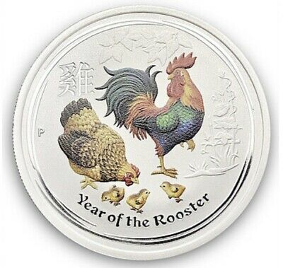 Colorized 2017 Australia Year Of The Rooster 1/2 oz .999 Fine Silver Coin (9141)