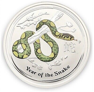 2013 Colorized Australia Year Of The Snake 1/2 oz .999 Fine Silver Coin (9141)