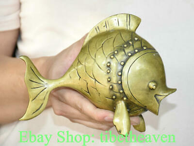 """8"""" Old Chinese Copper Feng Shui Goldfish Fish Blessing Statue Decoration"""