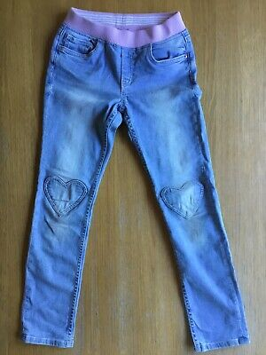 Girls H&M Pale Blue Denim Jeans With Hearts On Knees Size 8