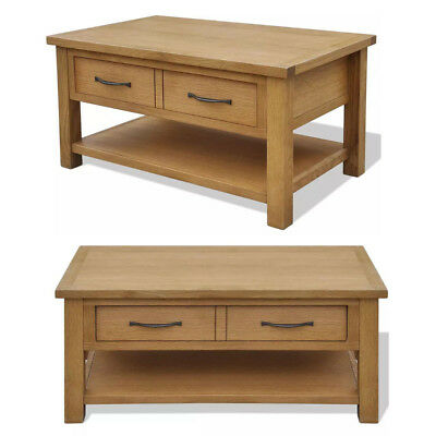 Oak Wooden Coffee Table With Large Storage Drawer Shelf