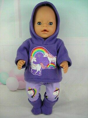 """Dolls clothes for 17"""" Baby Born doll~PURPLE UNICORN HOODIE/ LEGGINGS/BOOTS"""