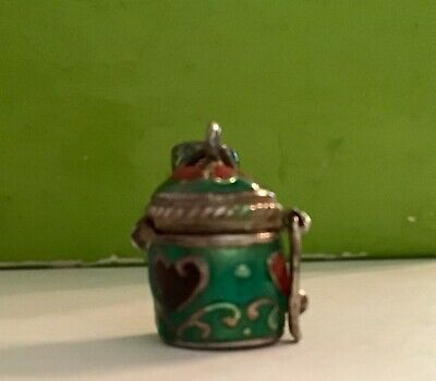 Vintage Signed Sterling Silver Enamel Decanter Trinket Box Charm Collectible