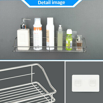 Stainless Steel Kitchen Bathroom Shower Shelf Storage Adhesive Wall Mounted Rack