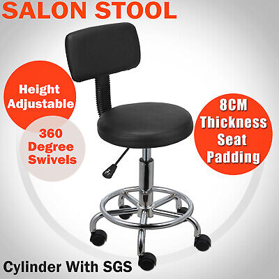 Salon Stool Swivel Black Chair Backrest Barber Hairdressing Hydraulic Height