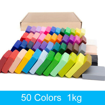 50Colors 1KG  Toy DIY Craft Malleable Modelling Soft Clay Block Set Fimo Polymer