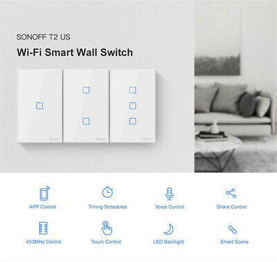 Smart Home Sonoff T2 1/2/3Gang Wireless WiFi Panel Touch Wall Switch RF Control