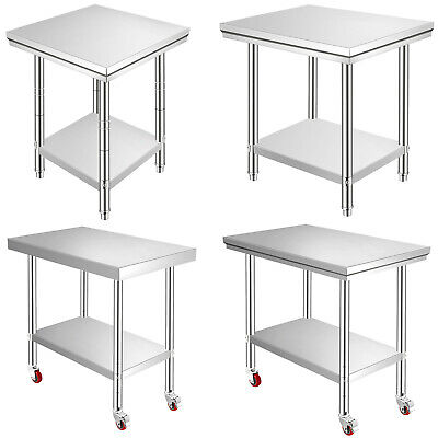 201 Stainless Steel Kitchen Work Bench Top Food Grade Catering Prep Table Wheels